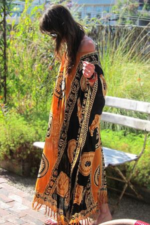orange caftan vintage dress
