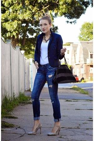black Fendi purse - blue Vigoss jeans - navy Gap blazer - white ann taylor top