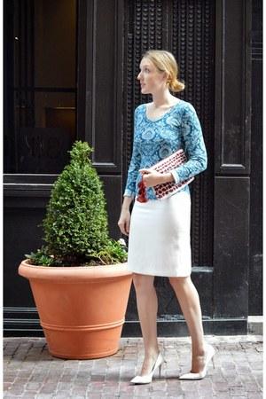 white Tahari skirt - maroon Anthropologie bag - blue Lucky Brand top