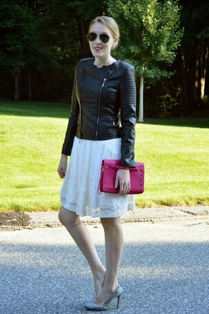 black RAISON dETRE jacket - white Tahari dress - heather gray BCBG heels