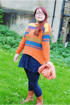 carrot orange nordic fairisle OASAP jumper - tawny calf H by Hudson boots
