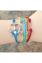 Folk Colorful Multi Colors Faith Love Anchor Infinity Charm Bracelet