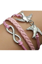 Pink Sweet Double Birdie Braided Friend Bracelet