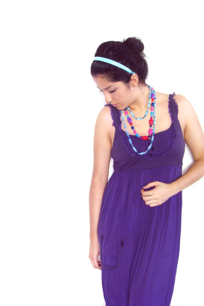 purple - blue - blue necklace