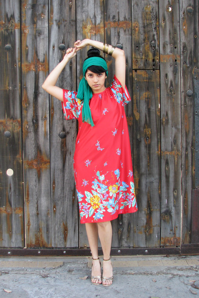 gold sandals shoes - red floral printed vintage dress - green silk vintage scarf