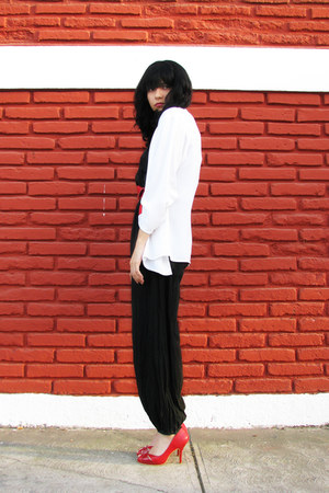 ruby red shoes - white vintage blazer - black cotton vintage bodysuit - red vint