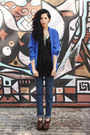 Blue-silk-vintage-blazer-navy-denim-levis-jeans-black-silk-vintage-top