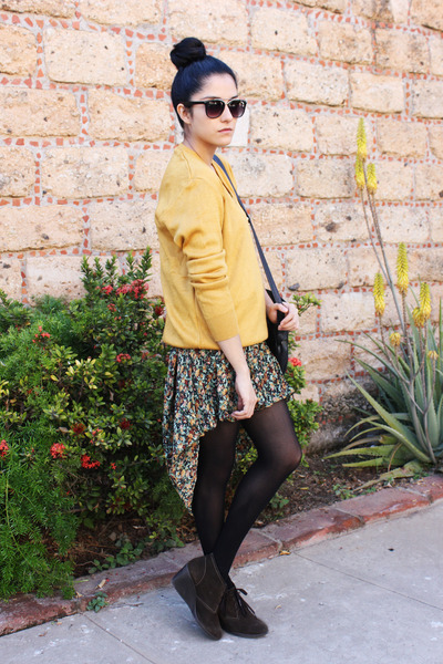 vintage sweater - black tights Hanes tights - sheer vintage skirt