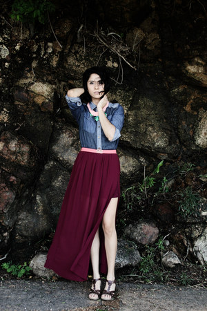 crimson maxi skirt Biography skirt - blue denim unknown brand shirt