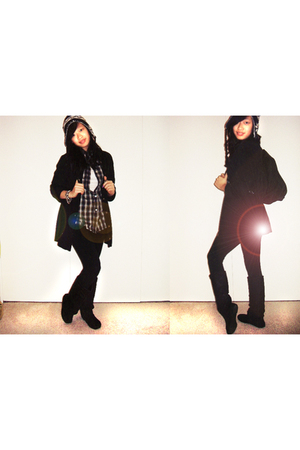 black Steve Madden boots - brown blouse - black cardigan - black hat - black For