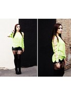 black Forever 21 boots - chartreuse October Sky sweater