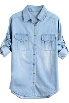 Washed Batwing Sleeves Denim Shirts