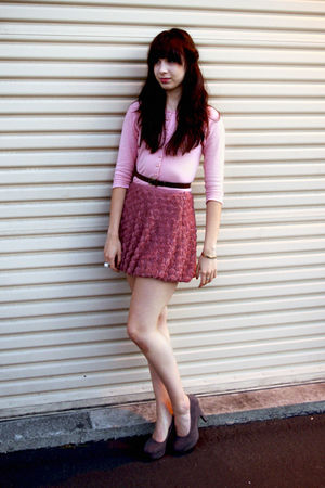 pink cardigan - pink skirt - gray shoes - brown belt