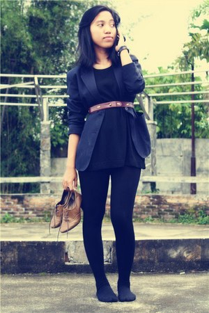 heels - Old Navy blazer - Topshop stockings - Old Navy belt - blouse