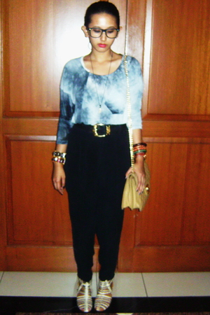 blue Zara t-shirt - black from daddy pants - silver Bali shops shoes - beige Cha