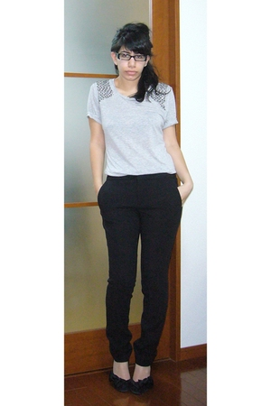 silver Zara top - black Zara pants - black Aldo shoes