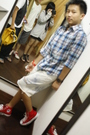 Red-red-sneakers-shoes-blue-tartan-shirt-shirt-white-acid-wash-short-jeans-j