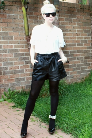 white silk & lace Anise shirt - black patent Siren shoes - black lucky 13 shorts