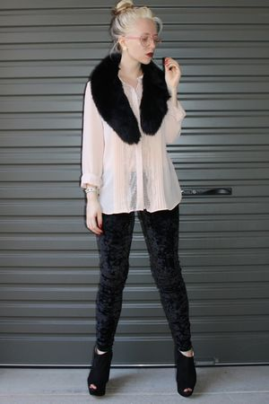 beige bardot shirt - black cotton on pants - black Topshop shoes - black collar