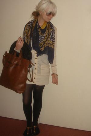 blue vintage scarf - aviators Chanel sunglasses - beige cardigan MinkPink