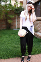 white supre shirt - black Mollini shoes - black vintage scarf
