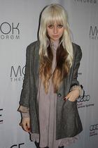 gray Lover jacket - beige Topshop dress - gray Witchery stockings - gold YSL acc