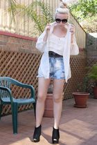beige silk Topshop shirt - black Topshop shoes - blue diy supre shorts