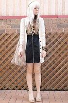 black zipper Dont Ask Amanda skirt - beige fringe bag Sportsgirl bag