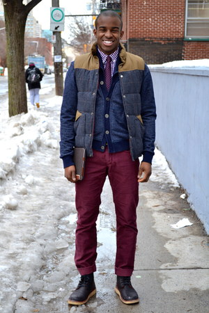 purple banana republic shirt - black leather Oliberte boots - navy H&M cardigan