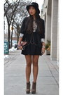 Tan-boots-black-graphic-printed-h-m-dress-black-velvet-le-chateau-hat