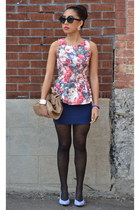 pink peplum shirt - periwinkle thrifted shoes - light pink Charlotte Russe purse