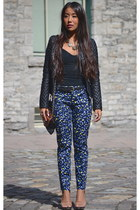 black quilted leather le chateau jacket - navy leopard print Gap pants
