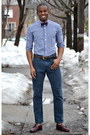 Dark-brown-loafers-vintage-shoes-navy-gingham-indochino-shirt