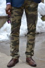Army-green-camo-dockers-pants-dark-brown-wingtips-pegabo-shoes