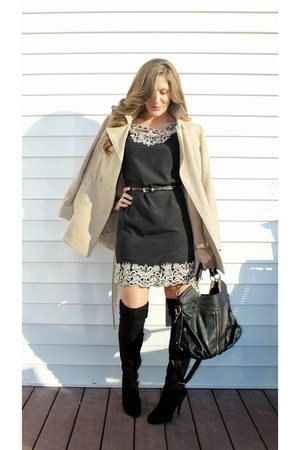 over the knee Steve Madden boots - Forever 21 dress - Old Navy coat