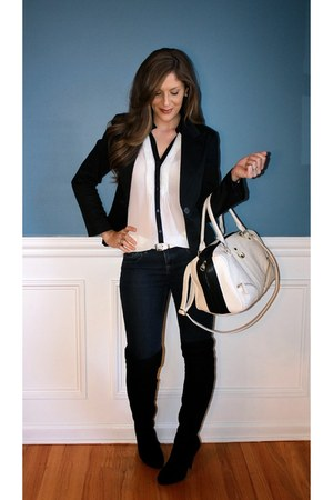 over the knee Steve Madden boots - elle jeans - H&M blazer - Steve Madden bag