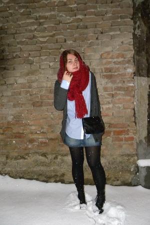 red Zara scarf - blue Zara shirt - blue Tally Weijl skirt - black Dr Martens boo