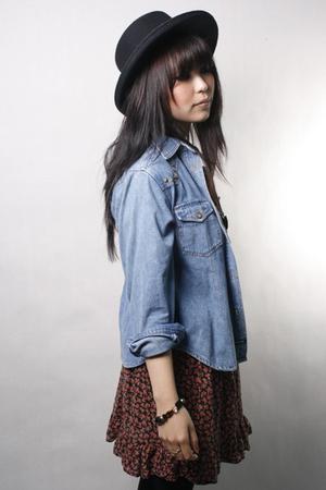 TwinCatVintage shirt - TwinCatVintage skirt - vintage hat