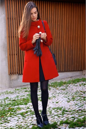 red Zara coat - heather gray Comptoir des Cotonniers shoes - black max&co dress