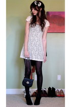 ivory crochet overlay my secret dress - black opaque Betsey Johnson tights - bla
