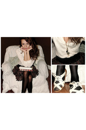black Betsey Johnson tights - black TJ Maxx skirt - heather gray Target necklace