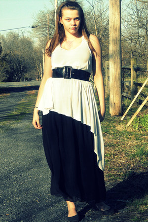 white asymmetrical Cheap Monday dress - black maxi American Apparel skirt
