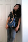 Shirt-grey-distressed-jeans-denim-louis-vuitton-bag