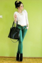 white blouse - black boots - green pants
