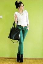white blouse - black boots - green pants