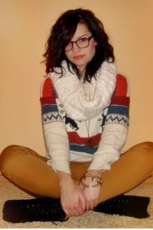eggshell sweater - black boots - bronze Pepco pants - burnt orange glasses