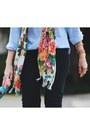 Black-jeans-bronze-boots-floral-scarf-periwinkle-vintage-blouse