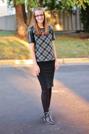 black merona tights - ankle boots Mossimo boots - plaid Mossimo shirt