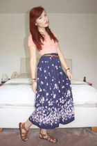 navy Beyond Retro skirt - salmon crop top Topshop top