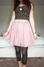 Light-pink-pleated-skirt-oasap-skirt-black-floral-bralet-new-look-top